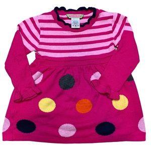 Sophie & Sam pink sweater dress 2T dots stripes